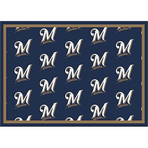 Milwaukee Brewers Repeat Logo Area Rug