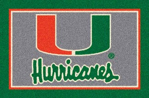 Miami Hurricanes Team Logo Area Rug