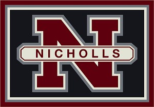 Nicholls State Colonels Team Logo Area Rug