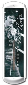 Elvis Black Leather Outdoor Thermometer