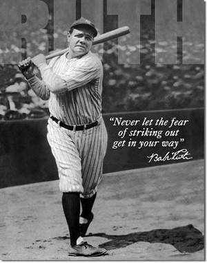 Babe Ruth No Fear Tin Sign