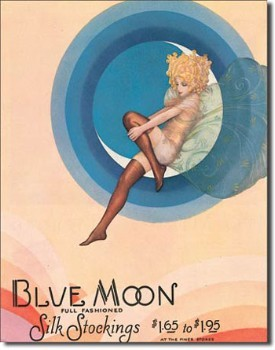 Blue Moon Stockings Tin Sign