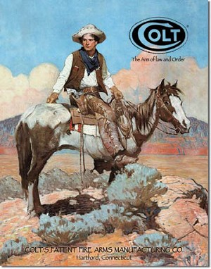 Colt Tex and Patches Tin Sign