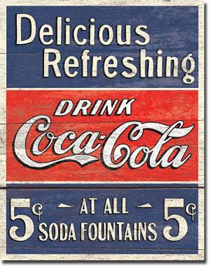 Coca Cola 5 Cents Tin Sign