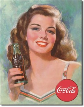 Coca Cola Beautiful Brunette Tin Sign