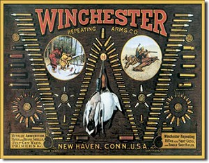 Winchester Bullet Board Tin Sign