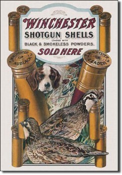 Winchester Dog and Quail Tin Sign