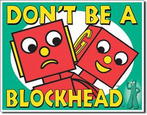Gumby Don't Be A Blockhead Tin Sign