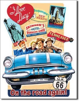 I Love Lucy On The Road Tin Sign