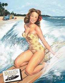 Surfer Girl Tin Sign