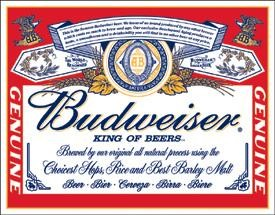 Budweiser Label Tin Sign