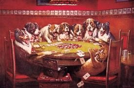 Dogs Playing Cards Tin Sign