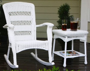 Plantation Coastal White Wicker Outdoor Rocking Chair