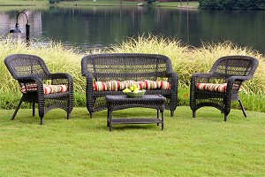 Portside Synthetic All Weather Wicker 4 Piece Dark Roast Seating Set