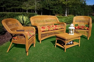 Portside Synthetic All Weather Wicker 4 Piece Southwest Amber Seating Set