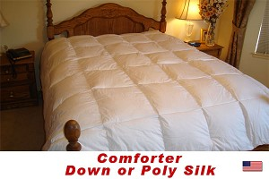 Expanded Queen Comforter, Down, Feather Down or Poly Silk