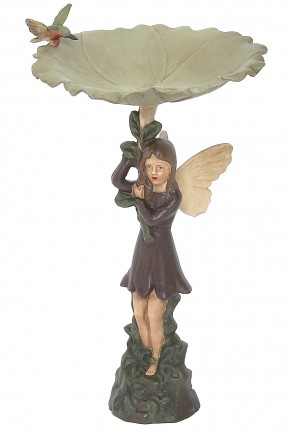 Cast Iron Painted Pixie Bird Bath