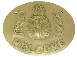 Pineapple Welcome Metal Sign