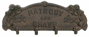 Hair Cut And Shave Iron Sign