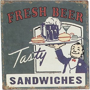 Fresh Beer Tasty Sandwiches Tin Sign