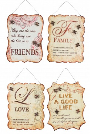 Friends Family Love And Live A Good Life Tin Signs Set Of Four