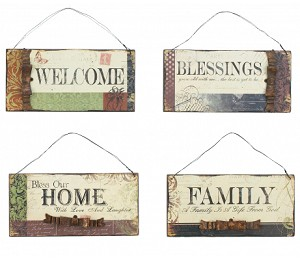 Welcome Blessings Home Family Wood Signs Set Of Four