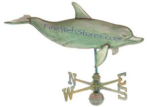 Dolphin Extra Large Antique Three Dimensional Weather Vane