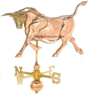 Bull Three Dimensional Polished Weather Vane
