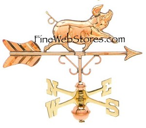 Whimsical Pig Cottage Size Weather Vane