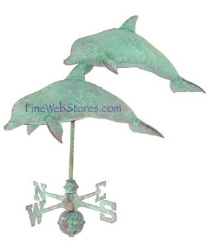 Double Dolphin Antique Three Dimensional Weather Vane