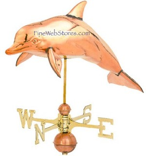 Dolphin Three Dimensional Polished Weather Vane