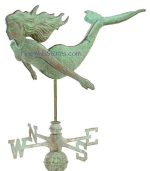 Mermaid Antique Three Dimensional Weather Vane