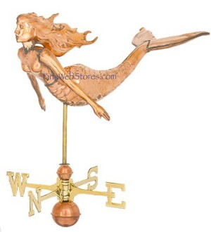 Mermaid Three Dimensional Polished Weather Vane