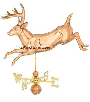Jumping Deer Three Dimensional Polished Weather Vane