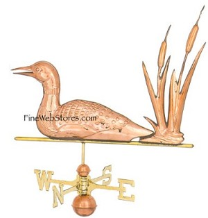Loon With Cattails Weather Vane