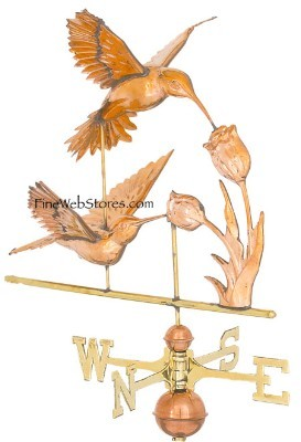 Hummingbird Three Dimensional Polished Weather Vane