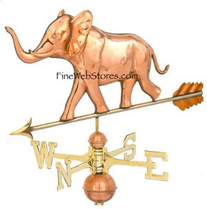 Elephant Three Dimensional Polished Weather Vane