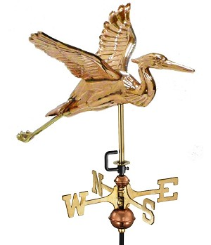 Small Blue Heron Polished Copper Weathervane