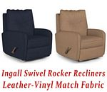 Ingall Swivel Rocker Recliner in Leather-Vinyl Match