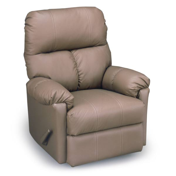 Picot Swivel Rocker Recliner In Leather Vinyl Match