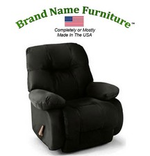 Black Leather Recliner Bonded Rocker