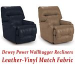 Dewey Power Wallhugger Recliner in Leather-Vinyl Match