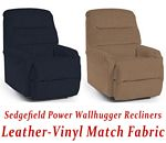Sedgefield Power Wallhugger Recliner in Leather-Vinyl Match