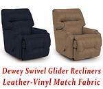 Dewey Swivel Glider Recliner in Leather-Vinyl Match