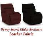 Dewey Swivel Glider Recliner in Leather