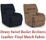 Dewey Swivel Rocker Recliner in Leather-Vinyl Match