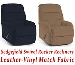 Sedgefield Swivel Rocker Recliner in Leather-Vinyl Match