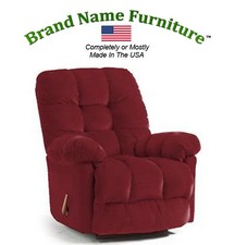 Red Leather Recliner Bonded Rocker