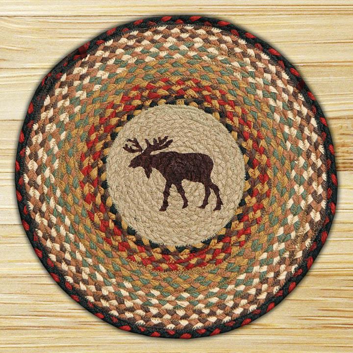 Hand Printed Chair Pad Moose Jute Braided Earth Rug®
