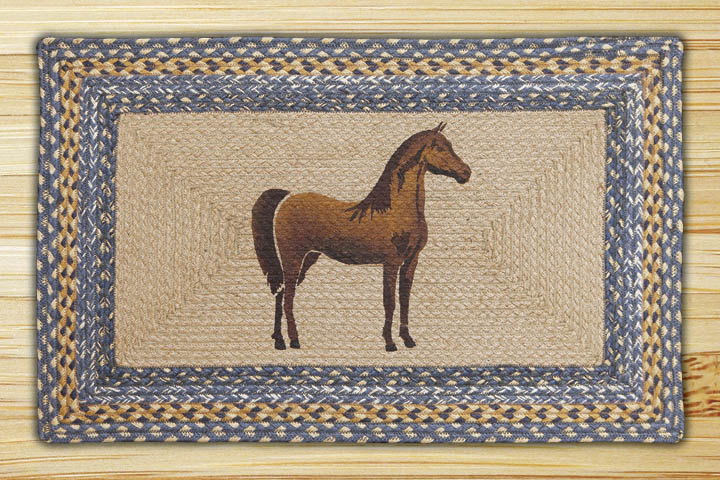 Rectangle Print Patch Horse Braided Earth Rug 174